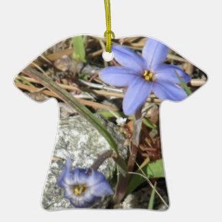 Springtime in the Mountains Purple Iris Flowers Ceramic T-Shirt Decoration