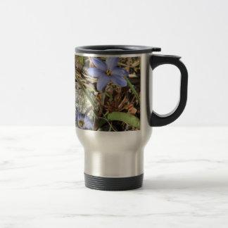 Springtime in the Mountains Purple Iris Flowers Stainless Steel Travel Mug