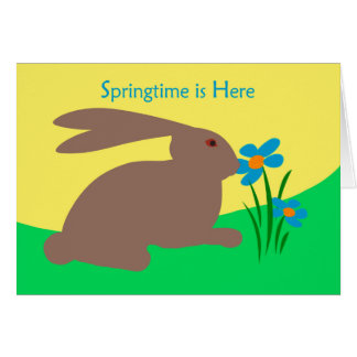 Springtime is Here, Rabbit Smelling a Flower Greeting Card