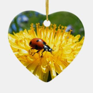 Springtime Ladybird on Dandelion Ceramic Heart Decoration