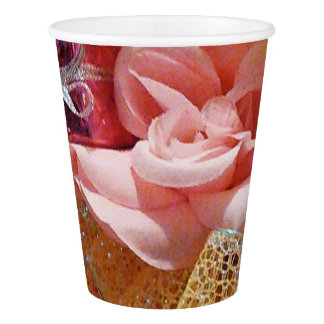Springtime Pink  Roses and Yellow Bow Paper Cups