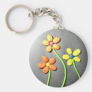 Springtime Playdough Flowers Key Chain