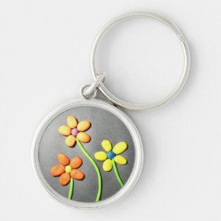 Springtime Playdough Flowers Keychain