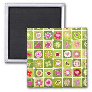 Springtime tiles square magnet