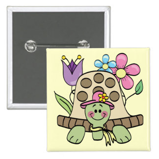 Springtime Turtle Tshirts and Gifts 15 Cm Square Badge