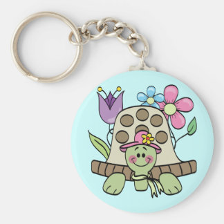 Springtime Turtle Tshirts and Gifts Basic Round Button Key Ring