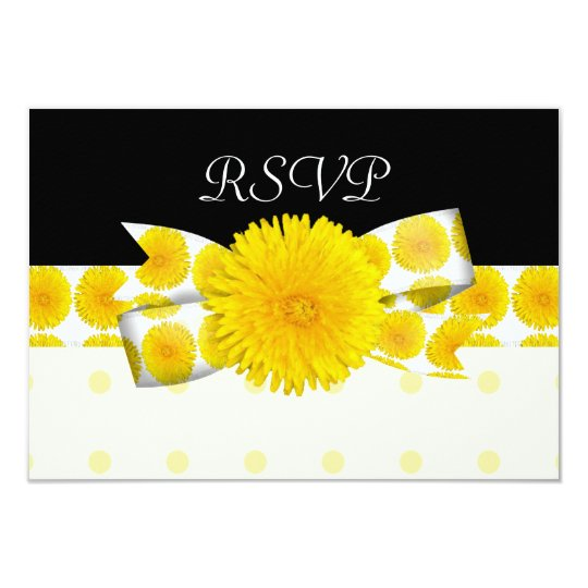 Springtime Yellow Dandelion Wedding Card