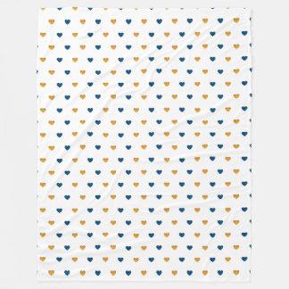 Sprinkle Hearts (Navy/Gold) Fleece Blanket
