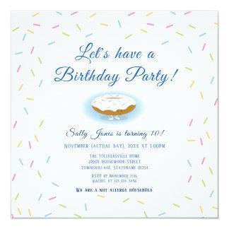 Sprinkles and Smiling Donut Birthday Invitation