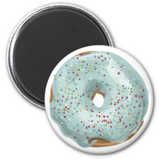 Sprinkles Doughnut with Blue Frosting. 6 Cm Round Magnet