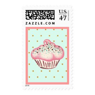 Sprinkles Mint Cupcake Postage Stamp