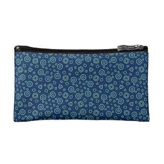 Sprinkles of fun on deep blue cosmetics bags