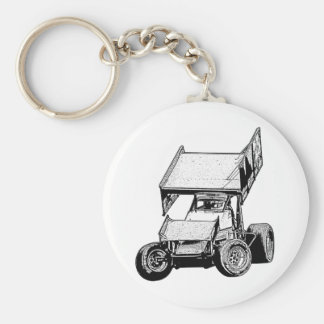 Sprint Car 1 Basic Round Button Key Ring