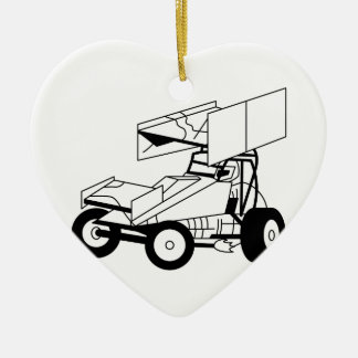 Sprint Car Outline Ceramic Heart Decoration
