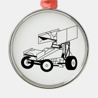 Sprint Car Outline Silver-Colored Round Decoration