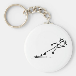 Sprinter Stickman Track and Field Basic Round Button Key Ring
