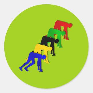 Sprinters on your marks get set go sprinting round sticker