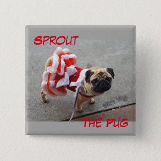Sprout in a Red Dress 15 Cm Square Badge