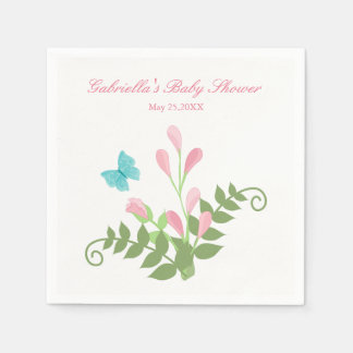 Sprouting  Flowers Baby Shower Personalized Napkin Disposable Napkins