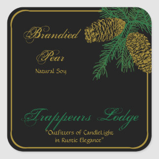 Spruce Pine Cone Candle Label Sticker