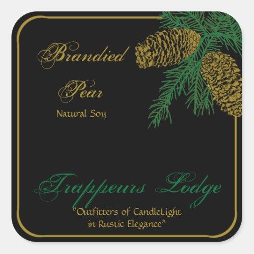 Spruce Pine Cone Candle Label Sticker