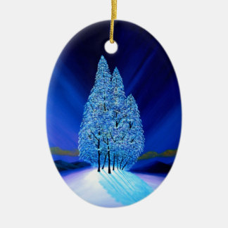 Spruce Trees Blue Christmas Seven Christmas Ornament