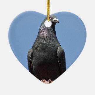 Spud the pigeon ceramic heart decoration