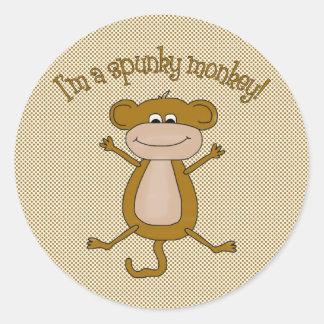 Spunky Monkey Classic Round Sticker