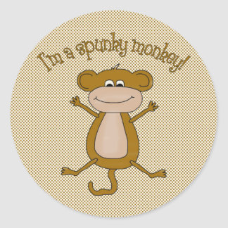 Spunky Monkey Round Sticker