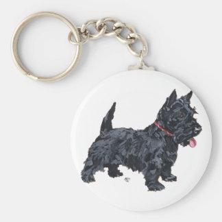 Spunky Scottie Dog Basic Round Button Key Ring