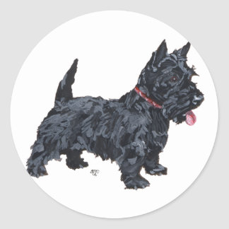 Spunky Scottie Dog Classic Round Sticker