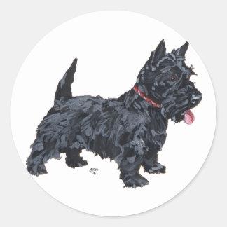 Spunky Scottie Dog Round Sticker