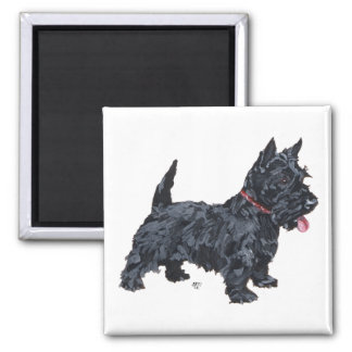 Spunky Scottie Dog Square Magnet