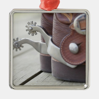 Spurs on cowboy boots christmas ornament