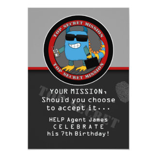 SPY Birthday Party Card