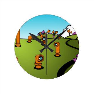 Spy Periscope Cartoon Round Wallclocks