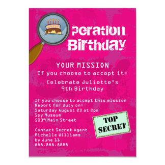 Spy / Secret / Special Agent Birthday Party 11 Cm X 16 Cm Invitation Card