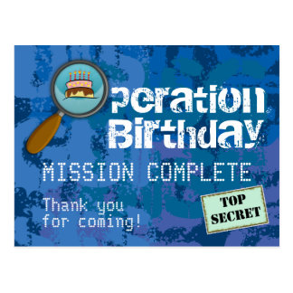 Spy / Secret / Special Agent Birthday Thank You Postcard