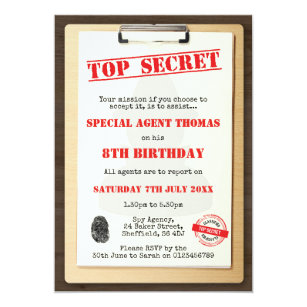 Secret agent invitations announcements zazzle spy themed birthday party invitation filmwisefo Image collections