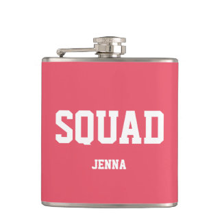 Squad Coral Pink & White Personalized Bridesmaid Hip Flask