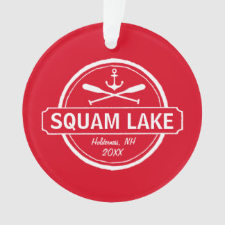 Squam Lake NH personalized town, name and anchor Ornament