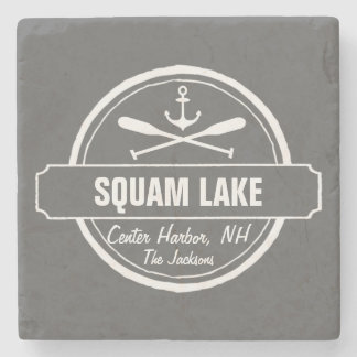 Squam Lake NH personalized town, name and anchor Stone Coaster