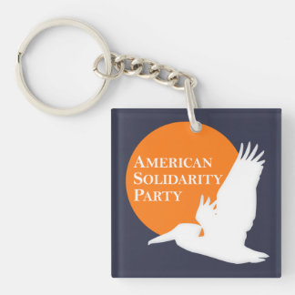 Square 2-Sided Acrylic Keychain Orange/White ASP