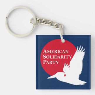Square 2-Sided Acrylic Keychain Red/White ASP Logo