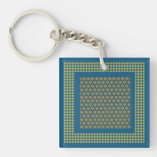 Square Acrylic Keychain, Hearts and Check Gingham Key Ring