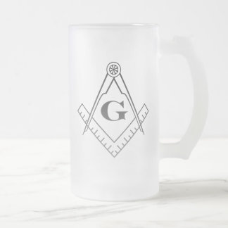 Square and Compass Beer Glass Frosted Glass Beer Mug
