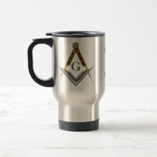 Square and Compass with All Seeing Eye Stainless Steel Travel Mug