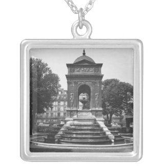 Square and fountain of Innocents, 1547 Silver Plated Necklace