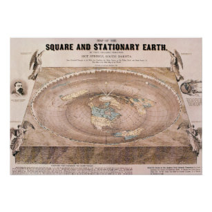 """""""Square and Stationary"""" Flat Earth Map Poster"""