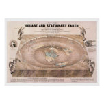 """Square and Stationary"" Flat Earth Map Poster"